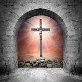 Way to Golgotha. Easter background.