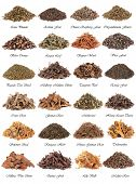 Chinese herbal medicine selection over white background with titles.
