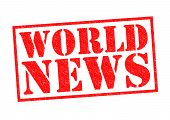 stock photo of current affairs  - WORLD NEWS red Rubber Stamp over a white background - JPG