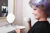 Woman Hair Rollers Curlers Drinking Coffee Tea Hairdryer Beauty Salon