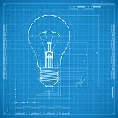 stock photo of blueprints  - Blueprint of bulb lamp - JPG