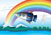 Illustration of a spaceship near the rainbow above the ocean