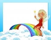 Illustration of an empty template with a rainbow and a fairy