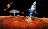 pic of outerspace  - Illustration of an outerspace with a rocket - JPG