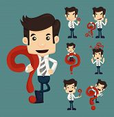 image of enlightenment  - Set of businessman characters poses with question marks eps10 vector format - JPG