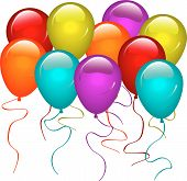 foto of birthday party  - Illustration of balloons in a variety of colours - JPG