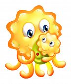 Illustration of a yellow monster with a child on a white background