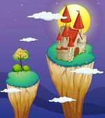 stock photo of landforms  - Illustration of a castle at the topmost part of a landform - JPG