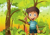 pic of hollow log  - Illustration of a forest with a young boy wearing a stripe tshirt - JPG
