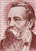 EAST GERMANY - CIRCA 1951: Friedrich Engels (1820-1895) on 50 Marks 1951 Banknote from East Germany.