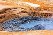 Hot Mud Pot In The Geothermal Area Hverir, Iceland