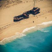 Ship Wreck On Navagio Beach, Zakynthos - Vintage Coaster