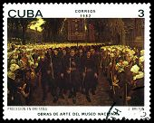 Vintage  Postage Stamp. Procession In Britain, By J. Breton.