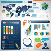 Set of Infographic Elements. World Map Graphics eps 10