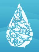 picture of sea life  - Waterdrop illustration made from sea creature silhouettes - JPG
