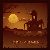 stock photo of spooky  - The Halloween spooky house background - JPG