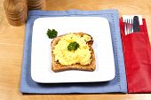 stock photo of scrabble  - A plate of scrabbled egg decorated with sprigs of parsley - JPG