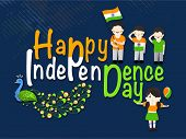 Stylish colorful text Happy Independence Day celebrations with cute little boys, girl and national b