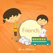 Happy Friendship Day celebrations concept with cute little children on abstract background.