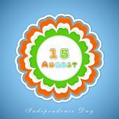 Beautiful flower design sticky in Indian tricolors with text 15 August on blue background for Indepe