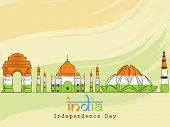 Indian famous monuments Red Fort, Taj Mahal, Lotus Temple and Qutub Minar in national flag colors for Independence Day celebrations.