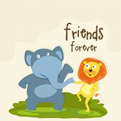 Happy Friendship Day celebrations concept with cute elephant and lion shaking hands on nature backgr