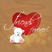 Happy Friendship Day celebrations concept with cute teddy bear with glossy red heart and text Friend