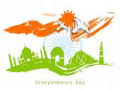 Indian Independence Day celebrations greeting card with famous monuments of India and ashoka wheel o