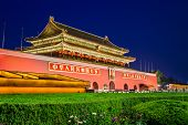 BEIJING, CHINA - JUNE 24, 2014: The Tiananmen Gate at Tiananmen Square. The gate was used as the entrance to the Imperial City, within which the Forbidden City is also located.