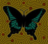 A Illustration Based On Aboriginal Style Of Dot Painting Depicting Butterfly