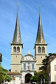 LUCERN, SWITZERLAND - JULY 2, 2014: The Church of St. Leodegar, Lucern. St. Leodegar was founded in