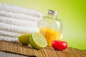 Spa Massage Border Background With Towel Stacked Red Candle And Lime