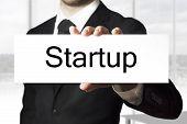Businessman Holding Sign Startup