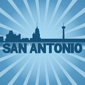 San Antonio skyline reflected with blue sunburst illustration