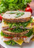 Healthy Turkey Breast, Ham, Cheese and Vegetables Sandwich