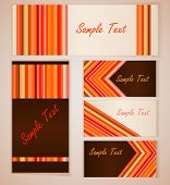 Red and orange stripes card vector template.