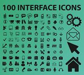 100 interface icons, signs, symbols set, vector