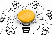 Shiny yellow push button against idea and innovation graphic