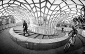 MELBOURNE, AUSTRALIA - July 3 2014:  Webb Bridge is an award winning bridge crossing the Yarra River