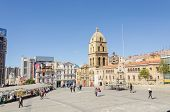 LA PAZ, BOLIVIA, MAY 8, 2014 - Plaza San Francisco with church and convent of San Francisco in backg