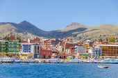 COPACABANA, BOLIVIA, MAY 7, 2014 - General view of port on shore of Titicaca lake