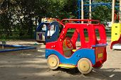 image of playground school  - Colorful toys on playground nearby primary school - JPG