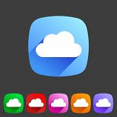 Cloud flat shape icon, set, collection