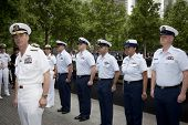 NEW YORK - MAY 23, 2014: Rear Admiral Scott A. Stearney stands in front of Coast Guardsmen participa