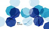 Bright blue textured geometric shapes isolated on white - modern design template