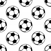 Seamless pattern with football or soccer balls