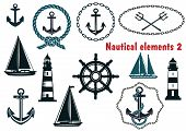 foto of ship steering wheel  - Set of nautical heraldry themed design elements with assorted anchors - JPG