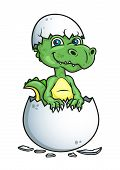 picture of dinosaur-eggs  - Cute little green dinosaur or dragon hatching from an egg shell - JPG