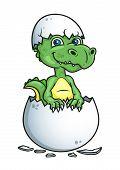 stock photo of dinosaur-eggs  - Cute little green dinosaur or dragon hatching from an egg shell - JPG