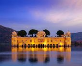 Rajasthan landmark - Jal Mahal (Water Palace) on Man Sagar Lake in the evening in twilight.  Jaipur,